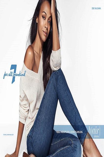 Zoe Saldana è il nuovo volto di 7 For All Mankind: testimonial di jeans snellenti