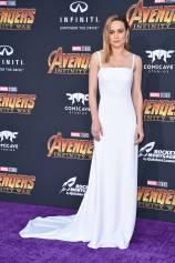 Brie Larson in Carolina Herrera all''Avengers Infinity War' premiere, Los Angeles