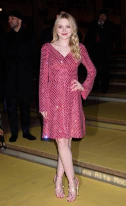 Dakota Fanning in Dolce and Gabbana alla Dolce & Gabbana Alta Giorella exhibition, New York