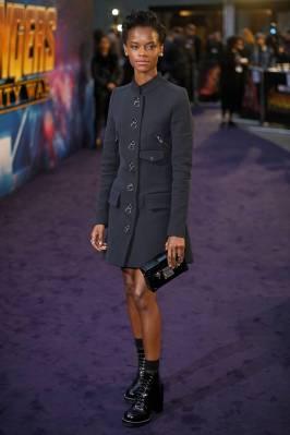 Laetitia Wright in Louis Vuitton all'Avengers Infinity War fan event, London