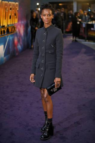 Laetitia Wright in Louis Vuitton all'Avengers Infinity War fan event, London