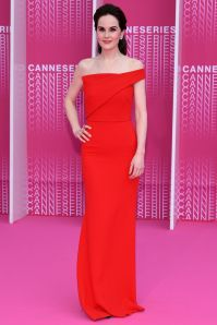 Michelle Dockery in Roland Mouret all' inaugural Cannes International Series Festival and screening of The Harry Quebert Affair