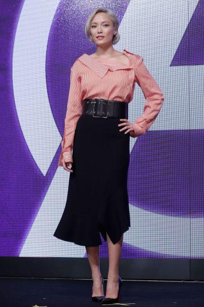 Pom Klementieff in Altuzarra and Bottega Veneta. alla press conference di Avengers Infinity War, Seoul