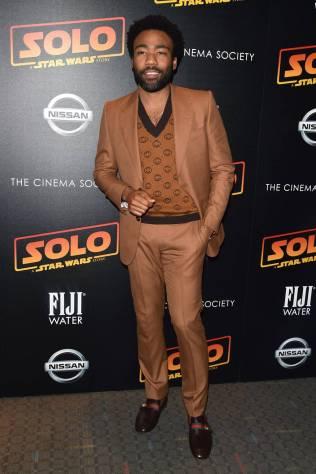 Donald Glover in Gucci al 'Solo A Star Wars Story' premiere, New York