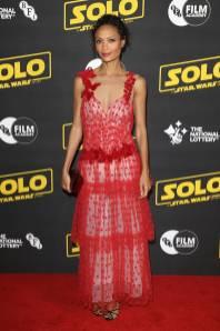 Thandie Newton in Rodarte al 'Solo A Star Wars Story' BFI screening, London