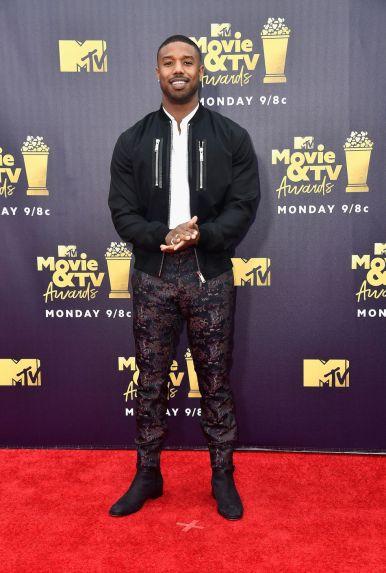 Michael B. Jordan in Dsquared 2 agli MTV Movie & TV Awards 2018