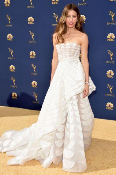 Jessica Biel in Ralph & Russo agli Emmy Awards, California