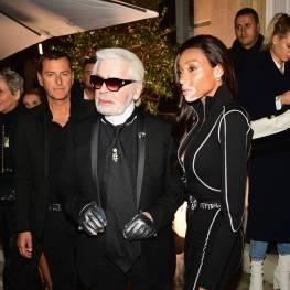 Karl Lagerfeld e WInnie Harlow al Karl Lagerfeld X Kaia capsule collection launch party, Paris