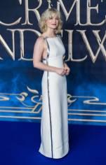 Alison Sudol in Miu Miu alla The Crimes Of Grindelwald Premiere, London