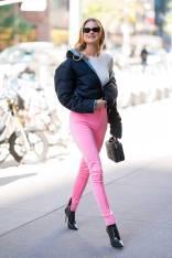 Behati Prinsloo in Balenciaga, Prada Jacket ,stivali Gianvito Rossi, NY