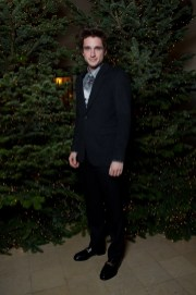 Joseph Olivennes in Burberry at an event hosted by Kristin Scott Thomas to celebrate Christmas in Paris'