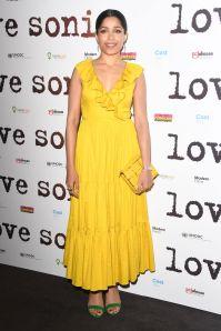 Freida Pintoin Kate Spade alla premiere of Love Sonia, London
