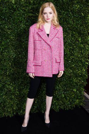 Ellie Bamber in Chanel ai pre-BAFTA dinner