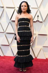 Tessa Thompson in Chanel agli Oscars 2019,LA