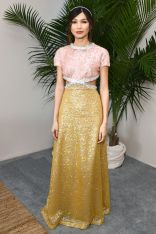 Gemma Chan in Miu Miu agli Film Independent Spirit Awards.