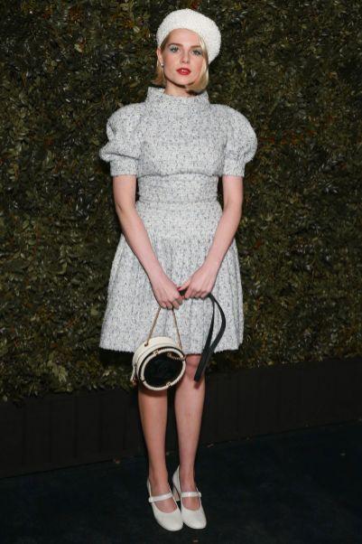 Lucy Boynton in CHanel alla Chanel and Charles Finch Pre-Oscar Awards dinner.