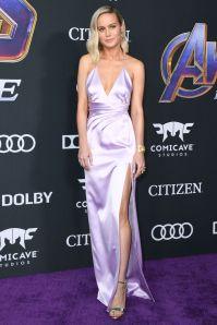 Brie Larson in Celine e sandali Christian Louboutin alla premiere of Avengers Endgame, LA