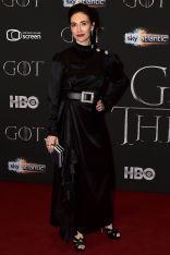 Carice van Hauten con accessori Roger Vivier al alla premiere of of Game of Thrones , Belfast
