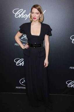 Lea Seydoux in Louis Vuitton al Trophée Chopard Event al Cannes Film Festival Red Carpet 2019