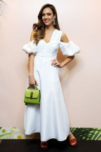 Jessica Alba in Self-Portrait e Salvatore Ferragamo bag al Honest Beauty event ,Rome