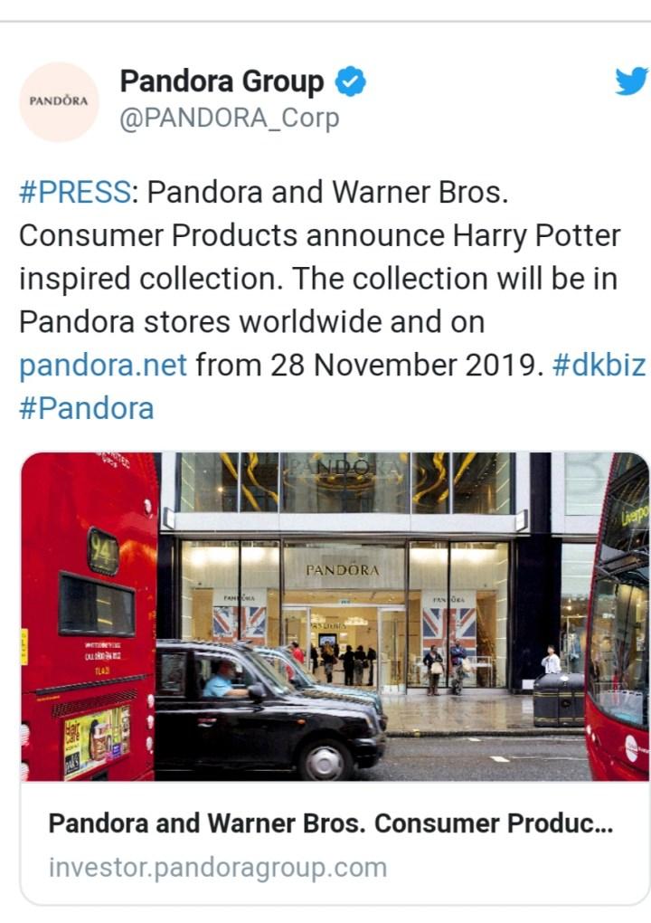 Pandora lancerà una collezione ispirata alla saga di Harry Potter