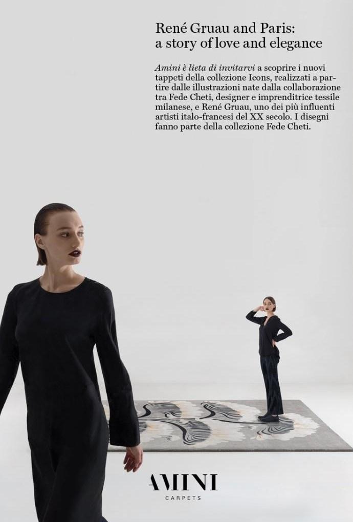 AMINI ha presentato a Parigi la collezione di tappeti FEDE CHETI con i disegnio di René Gruau