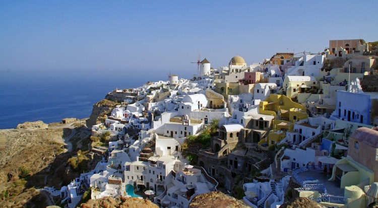 View of Oia Santorini from Castle