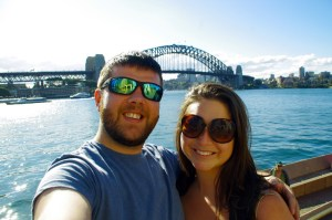 Couple in front of Sydney Harbour Bridge