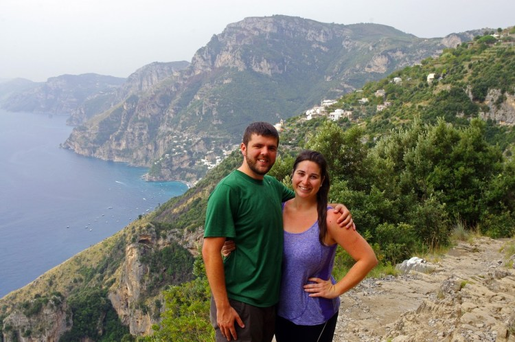 Simone and Dan hiking Paths of the Gods in Italy