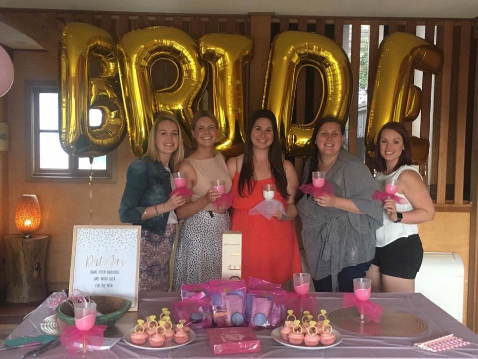 Bridal party with bride balloons