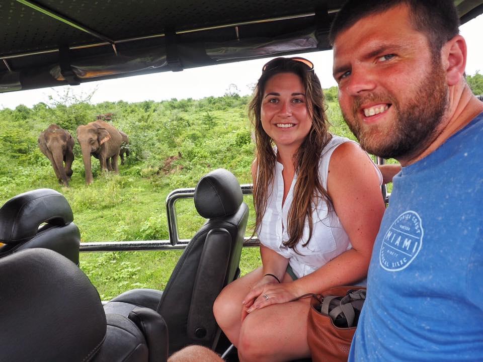 Couple on safari in Udawalawe National Park