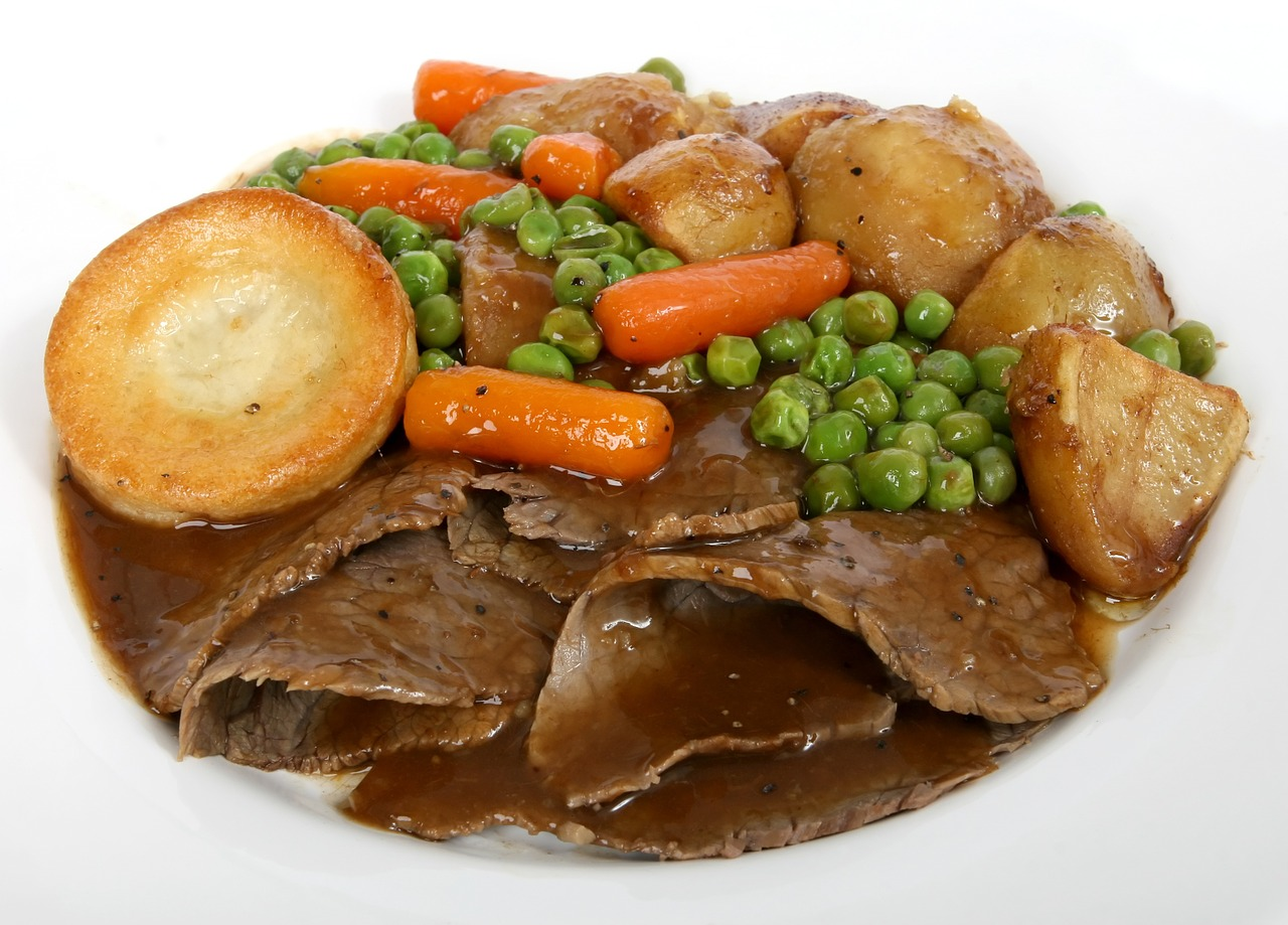 English roast dinner with Yorkshire puddings