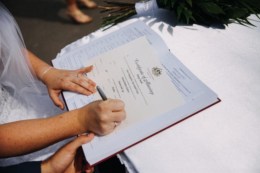 Signing of wedding register