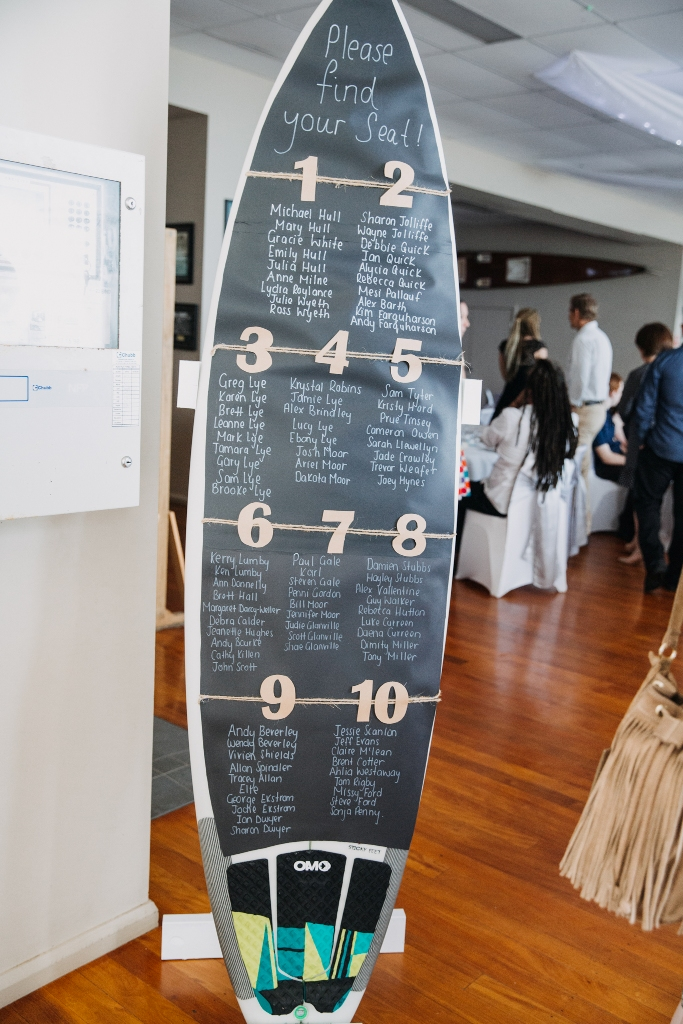 Surfboard wedding seating plan