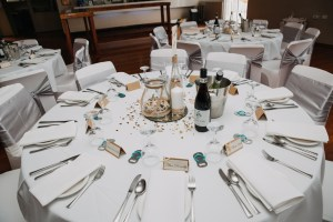 Wedding decorations and seating reception