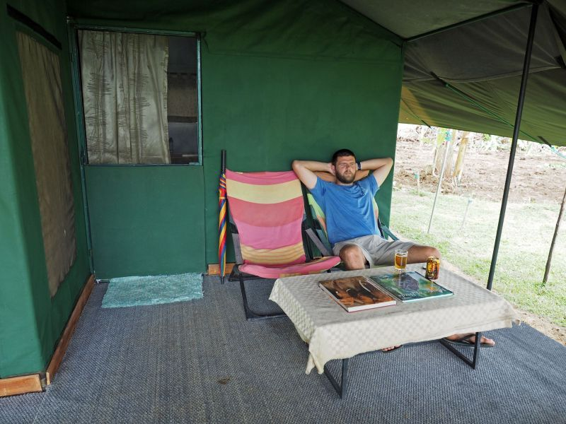 Boy relaxing at Master Campers Udawalawe Tent