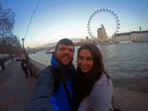 Couple in front of Thames and London Eye