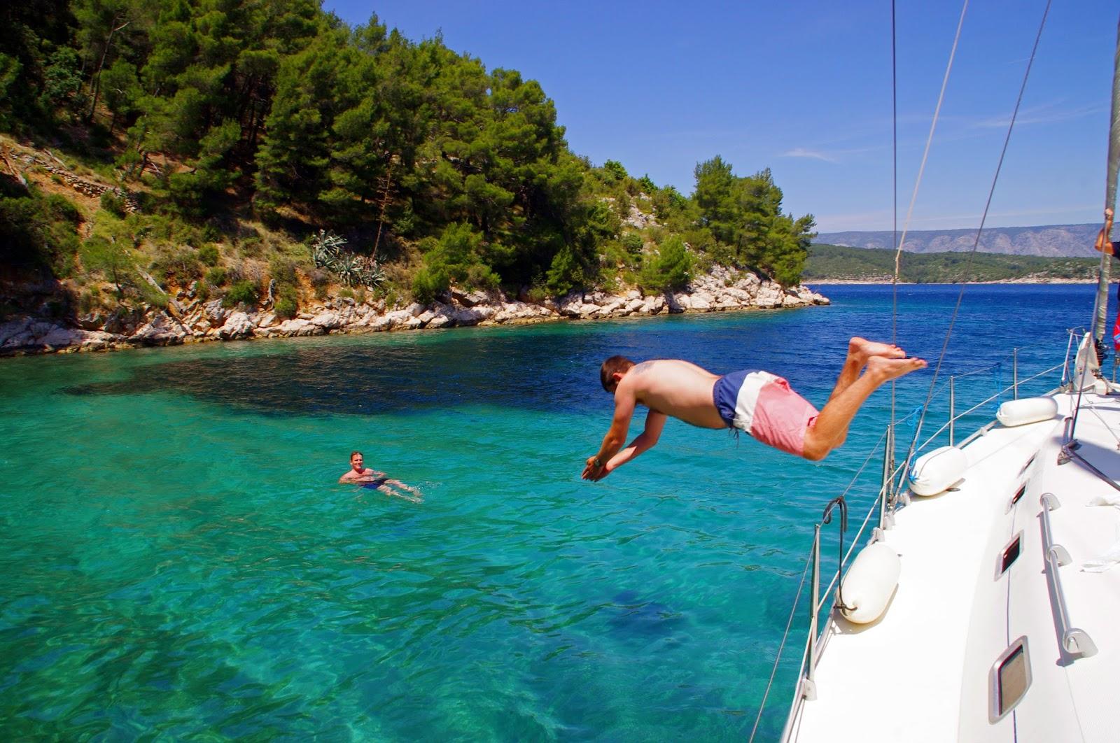 Diving off boat in Croatia