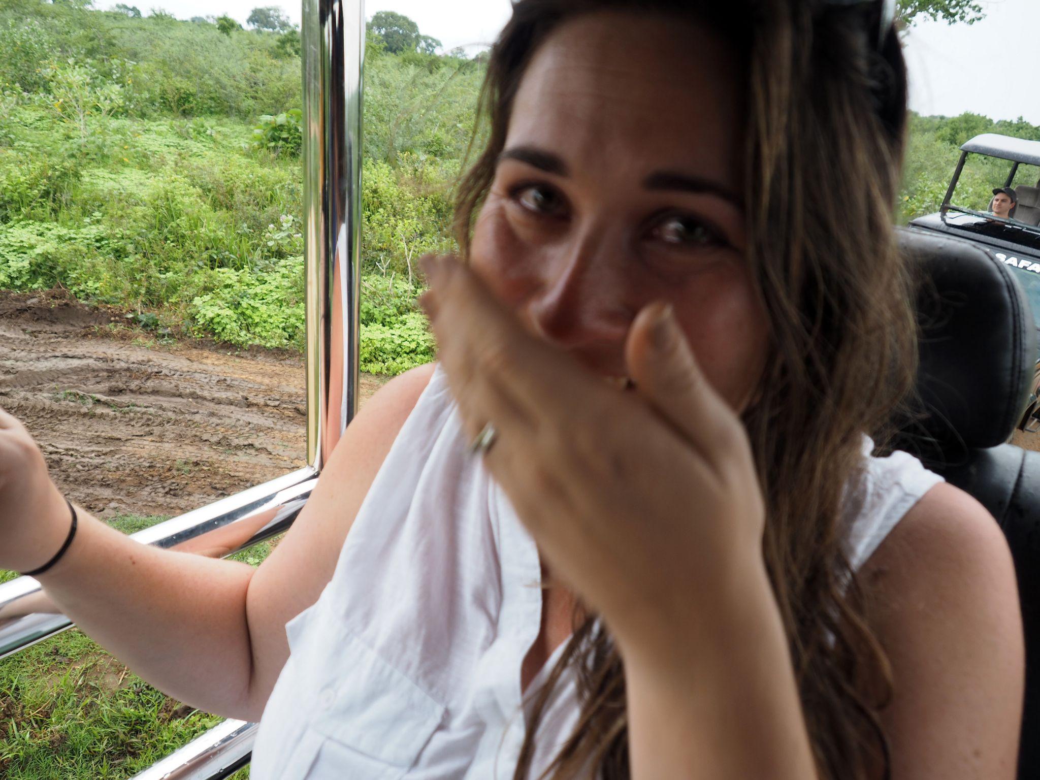 Girl crying over elephants Udawalwe National Park