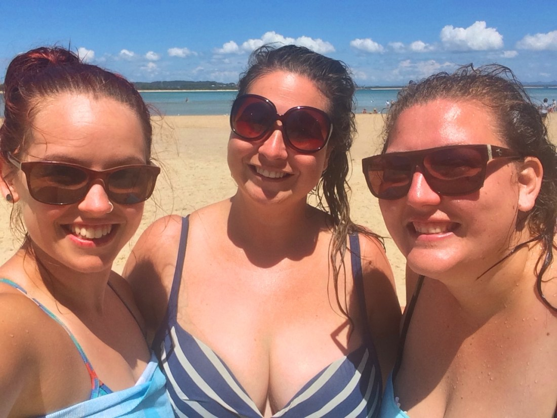 Girls at beach after swim