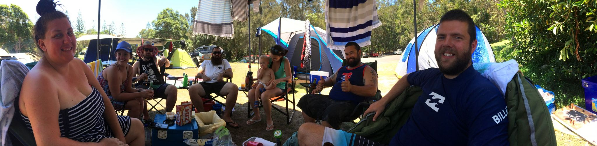 Group at campsite in Trial Bay