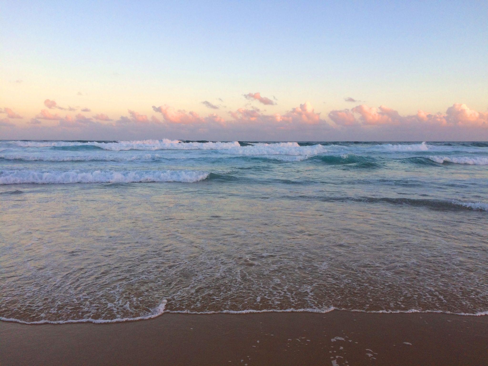 Pastel colours at beach at dusk