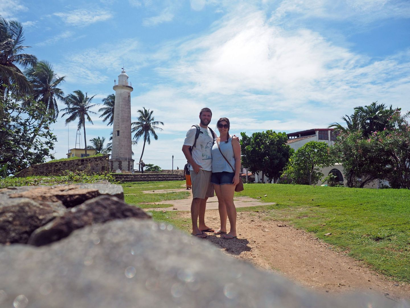 Couple in front of Galle Lighthouse