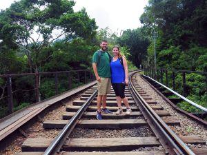 Couple on train tracks Sri Lanka