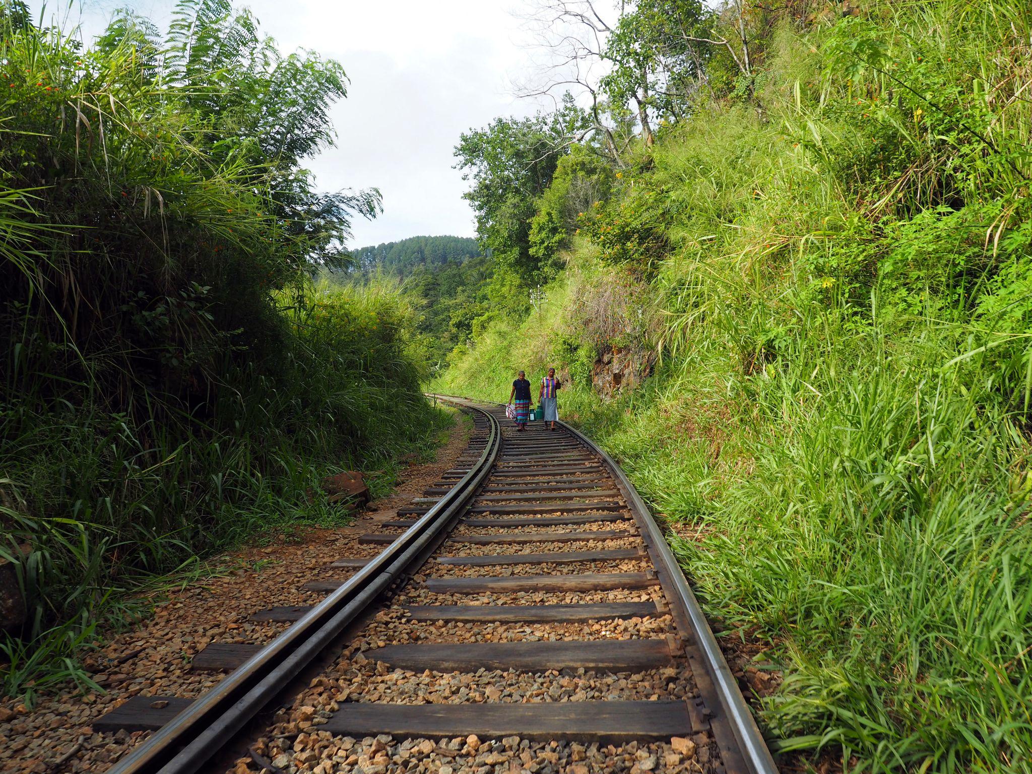 Walking along train tracks Sri Lanka