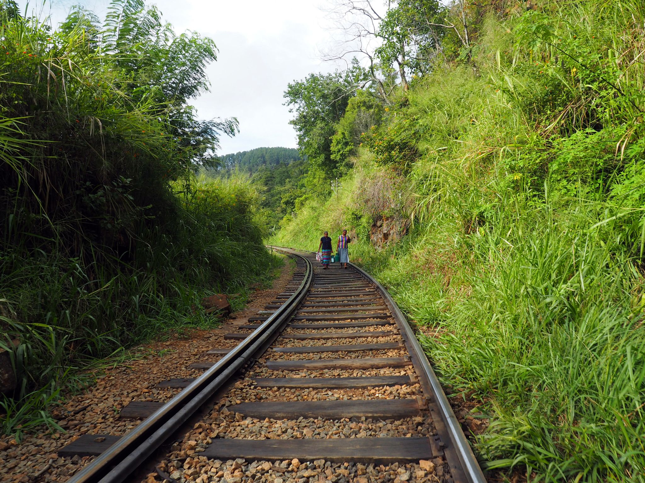 Walking along train tracks Sri Lanka