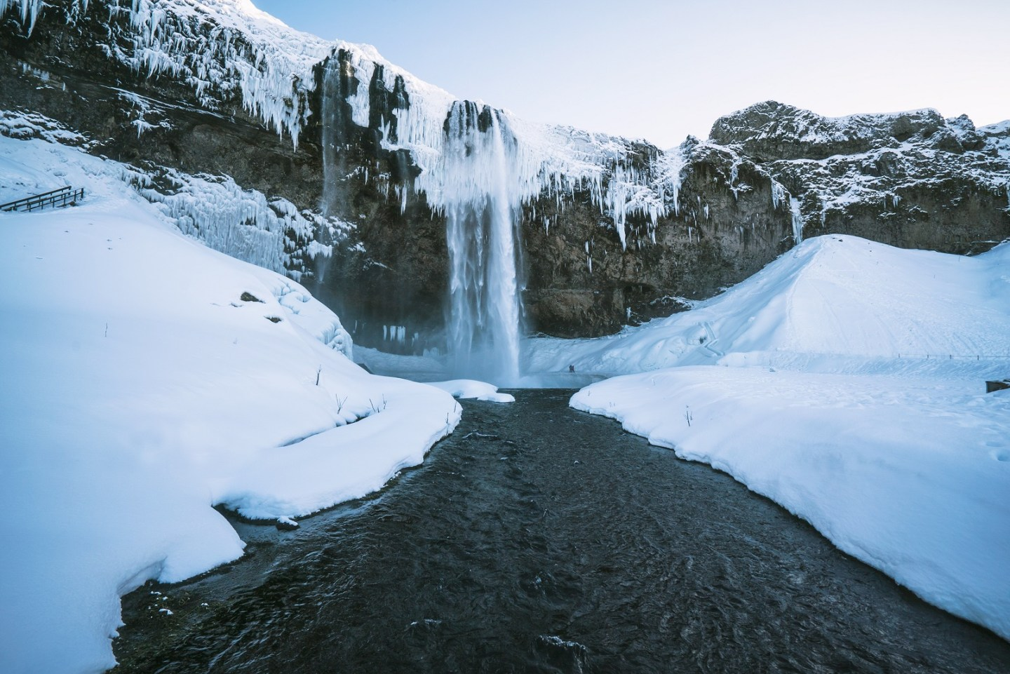 Iceland waterfall in winter