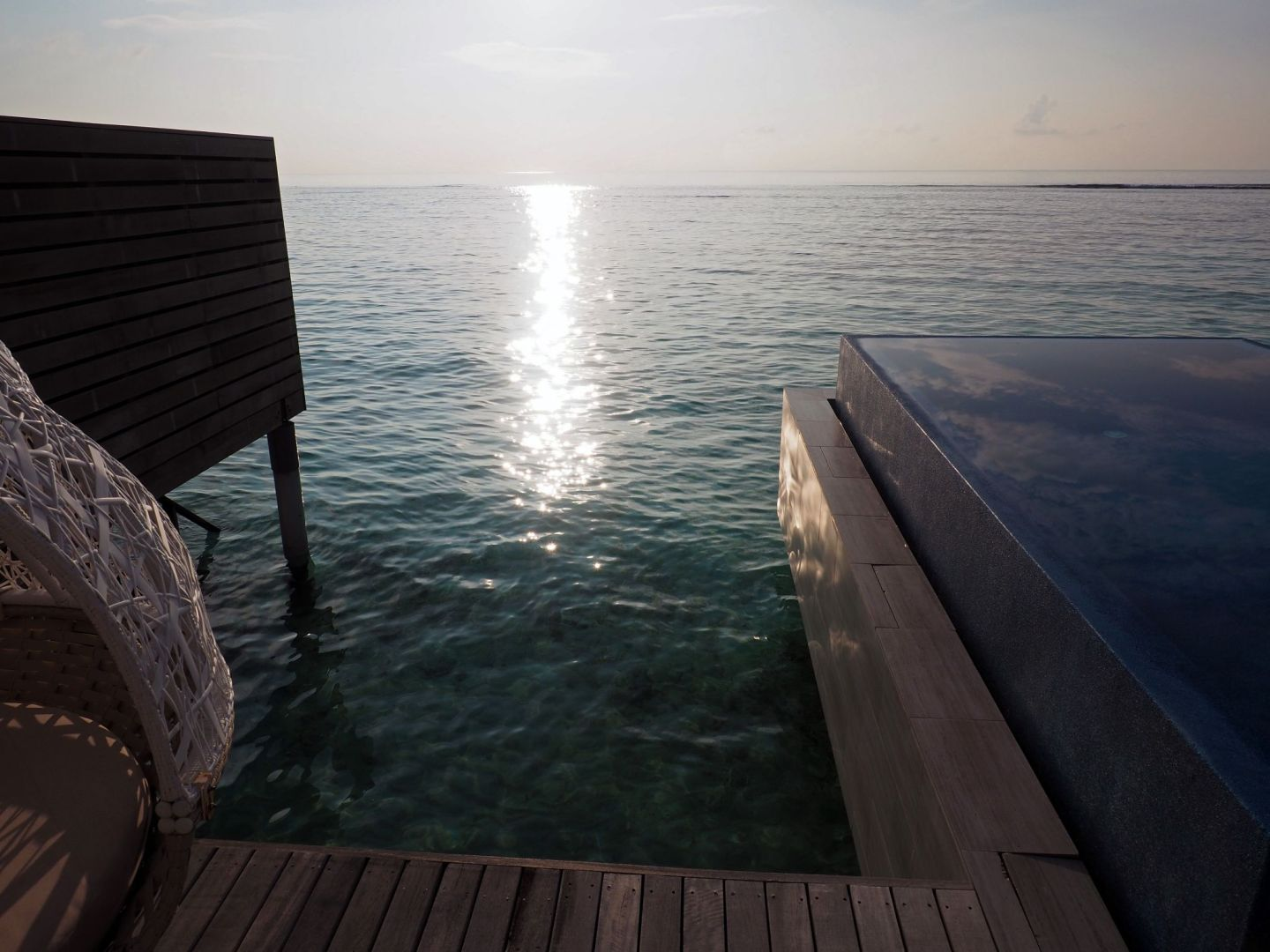 Sunrise at LUX South Ari Atoll from water villa