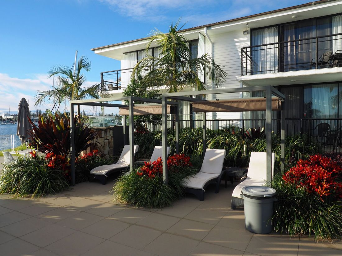 Chairs in garden by pool at Sails Port Macquarie