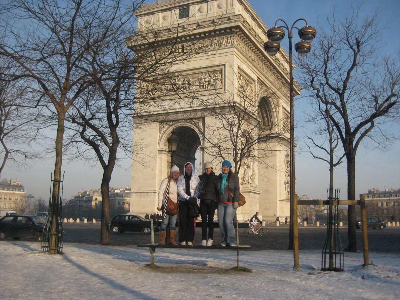 Girls in front of Arc De Triomphe Paris
